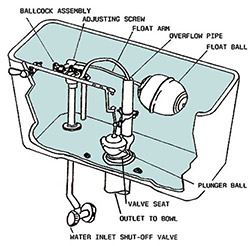 Diagram showing possible locations of toilet leak sources