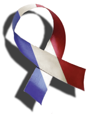 A red, white and blue ribbon.